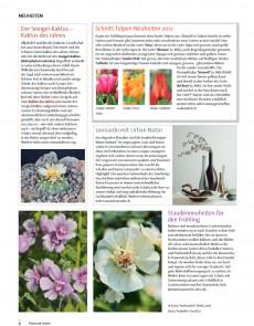 Presseartikel: Schnitt-Tulpen Neuheiten 2012 (Freude am Garten | Februar 2012 )